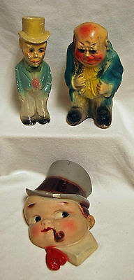 Lot of 3 Vintage Carnival Chalkware Figurines Man Hat Wall Boy Pipe Sting Holder