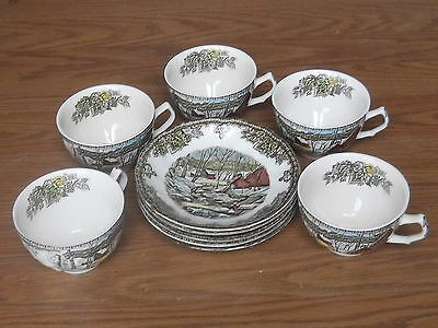 Vintage China Dinner Set  For 5  Johnson Bros The Ice House The Friendly Village