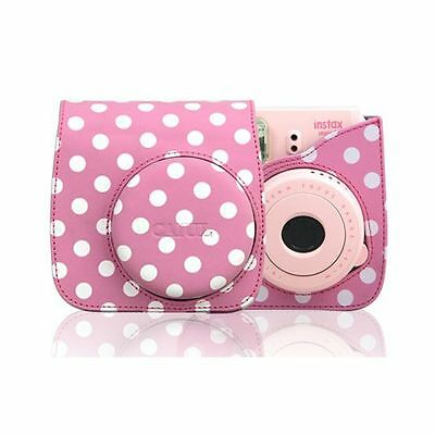 Pink Leather Polka Dot Camera Case Bag For FUJIFILM Instax Mini8 Mini8s Special