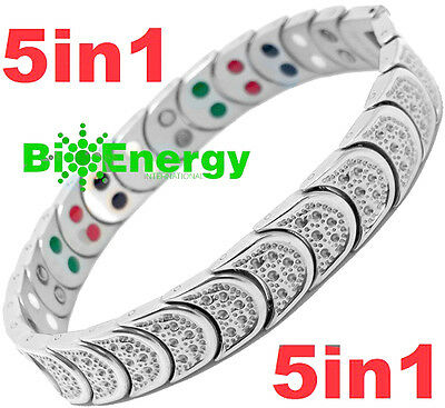 Jade Magnetic Energy Germanium Power Bracelet Health TITANIUM 5 in 1 Armband BIO
