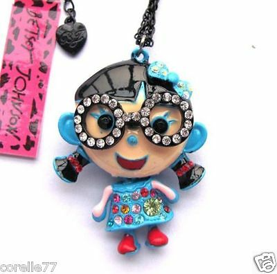 LITTLE GIRL BLUE DRESS PERSONALITY NECKLACE & CHARM CRYSTAL ALLOY Betsey Johnson