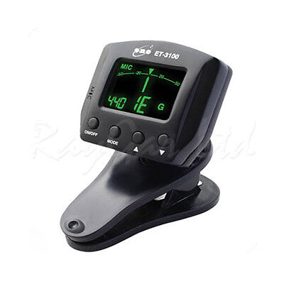 Eno Et-3100 Clip On Chromatic Acoustic Electric Bass Guitar Tuner Violin Ukulele