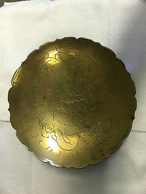 """Vintage 10"""" Chinese Solid Brass  Plate Tray  Hand Engraved symbols"""
