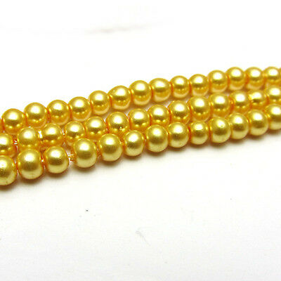 New 4MM 150pcs Charm Round  Beads Glass Spacer Pearls Gold Color