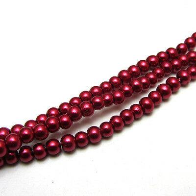 New 3MM 150pcs Charm Round  Beads Glass Spacer Pearls Wine Red Color