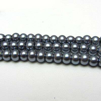New 4MM 150pcs Charm Round  Beads Glass Spacer Pearls Gray Color