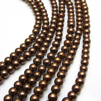 New 4MM 150pcs Charm Round  Beads Glass Spacer Pearls Coffee Color