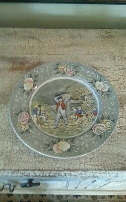 Vintage Adams China England Dinner Plate Transferware Currier & Ives Husking