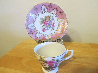 VTG. TEA CUP AND SAUCER , PINK FLORAL GOLD ACCENT MADE IN JAPAN