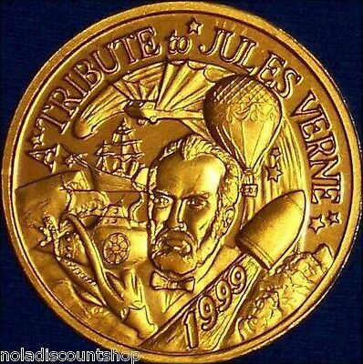 JULES VERNE AROUND THE WORLD 20,000 LEAGUES NEW ORLEANS MARDI GRAS DOUBLOON COIN