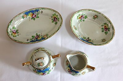 Lustre Made in Japan Sugar Creamer with Lid Oval Bowl Dish Lot Set White Floral