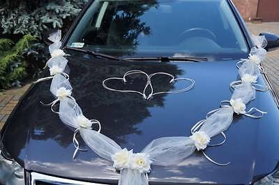 wedding car decoration , ribbon kit , bows, garland wedding flowers white ivory