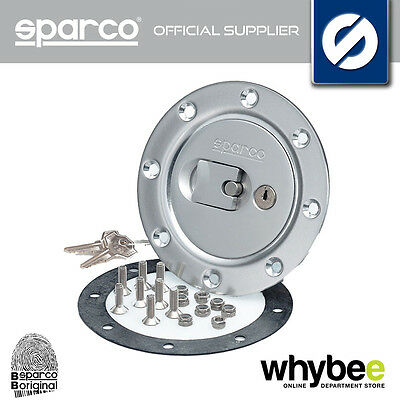 27004Oa Sparco Fuel Cap Cover (Locking With Key) Brushed Aluminium Silver