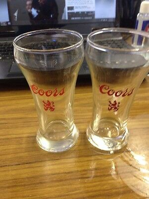 Set of Vintage Coors Beer Glasses with Red Crest
