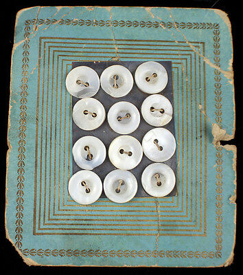 Old Antique Pearl Buttons On Original Card Early 1900's