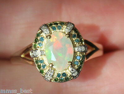 New 10K S7 Natural Opal &  1/4ct Blue / Green / White Diamond Halo Vintage Ring