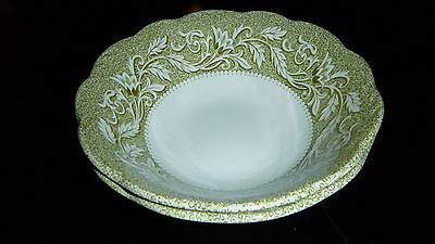 J & G Meakin Sterling Renaissance Green Two Cereal Bowls