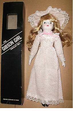 The Gibson Girl Porcelain Doll, White/Pink Polka Dot Dressed with Matching Hat