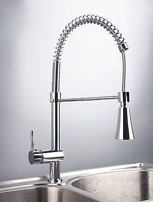 CW14 LED Pull Out up&down Kitchen Sink Mixer Tap Chromed Swivel Faucet