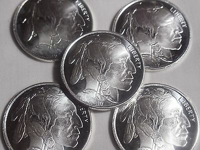 Lot of 5  Coins  American  Buffalo  Liberty Coins 99.9% Solid Silver