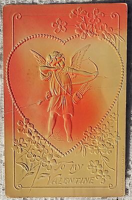 VINTAGE 1908 EMBOSSED POSTCARD - TO MY VALENTINE - CUPID WITH BOW & ARROW
