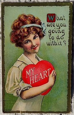 VINTAGE 1911 EMBOSSED POSTCARD - MY HEART - WHAT ARE YOU GOING TO DO WITH IT?