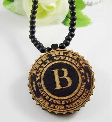 Good Quality black B Pendants Wood Fashion Hip Hop Rosary Beads Chains Necklaces