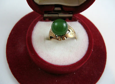 QUALITY VINTAGE  SOLID 18K GOLD 9MM. ROUND JADE STONE RING SIZE 5 1/4
