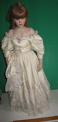 """28"""" Standing Porcelain Red Haired Doll in Pale Yellow Dress"""