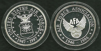 AFA USAF Partners in Airpower for 50 Years, 2 Silver medals in wood box of issue