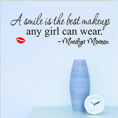 Smile lip Marilyn Monroe Quote Vinyl Wall Stickers Art Mural Home Decor Decal