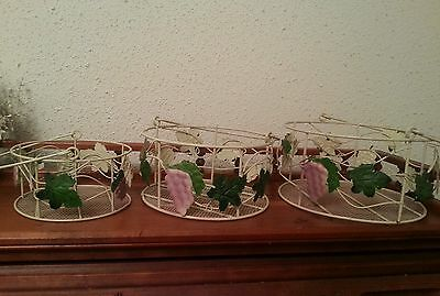 3 NESTING COUNTRY DECORATIVE METAL WIRE BASKET GRAPE VINE DESIGN HAND PAINTED