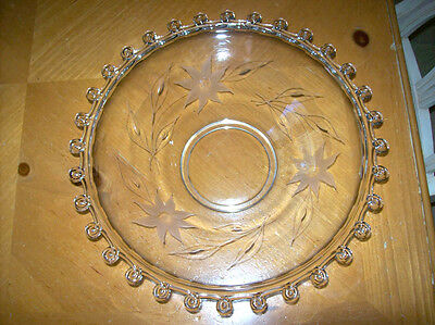 """BEAUTIFUL! Vintage Heisey Lariot Large 12.5"""" Bowl With Etched Flowers & Leaves"""
