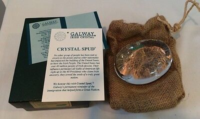 Galway Irish Crystal Spud Potato Paperweight #24100 Made In Ireland & Signed NIB