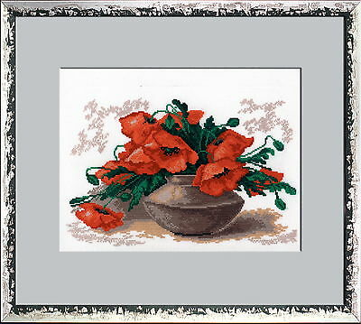 Counted Cross Stitch Kit with Color Symbolic Scheme Art:265 Poppies