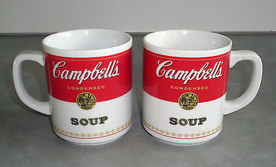 Vintage Campbell's Soup Porcelain Coffee Mugs Corning Glass Works Set of 2