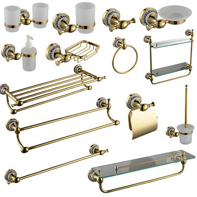 Gold bathroom accessory towel rail rack bar paper tissue for Victorian style bathroom accessories