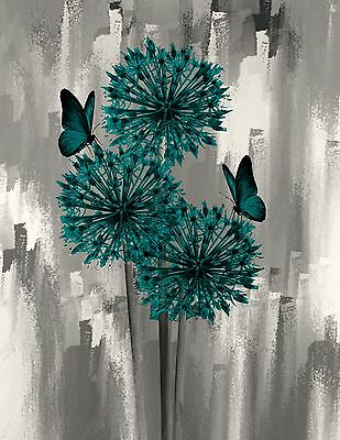 Teal Gray Butterflies & Flowers Creative Decorative Wall Art Matted Picture