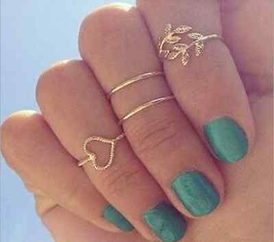4PCS/Set Rings Urban Gold Plated Plain Above Knuckle Crystal Ring Band Midi Ring