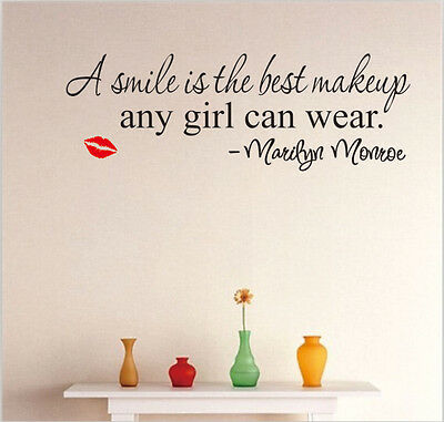 Smile word Marilyn Monroe Quote Vinyl Wall Stickers Art Mural Home Decor Decal