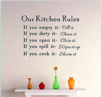 Kitchen Rules Wall Quote DIY Sticker Art Vinyl Decal Home Decor Stickers Words