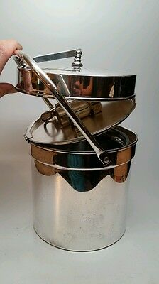 ENGLISH SILVER MFG CORP INSULATED ICE BUCKET W/ HIDDEN SERVING TOOLS