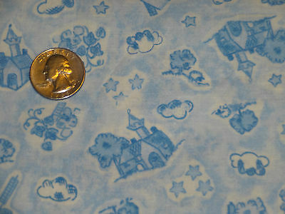 Nursery Thyme Blue Toile Cotton Quilting fabric 1 3/8 yards babies boys infants