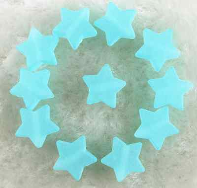 100Pcs 10mm Blue Frosted Acrylic Star Shape Spacer Loose Beads # 3