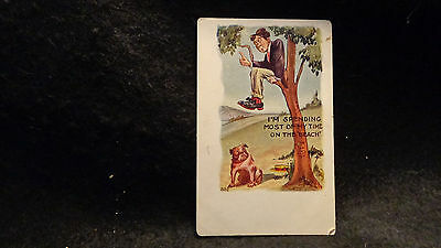 """Vintage Comic Postcard """"I'm Spending Most of My Time on the Beach"""" Embossed Used"""