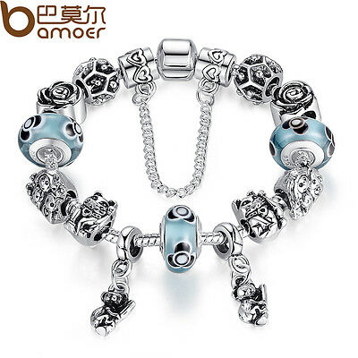 Christmas DIY 925 European Animals Bear Charm Bracelet With Blue Beads For Women