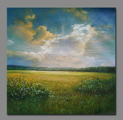 """Lawn Abstract Landscape oil painting canvas decor art 30""""x30"""""""