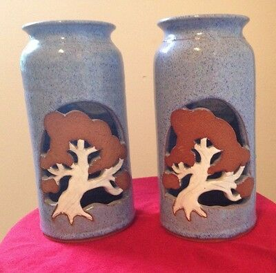 Set of 2 Hand Thrown Studio Pottery Luminary Candle Holder Oak Tree Design
