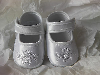 Baby GIRL Christening soft satin shoe embroided 'My Special Day' with strap