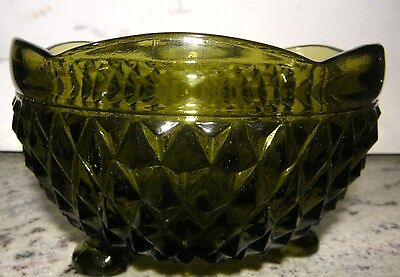 Vintage Diamond Point Cut Green Glass Candy Dish, Cute for Holiday Treats